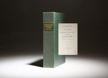 First edition of Recollections of a Service of Three Years during the War-of-Extermination in the Republics of Venezuela and Colombia, printed in London in 1828.