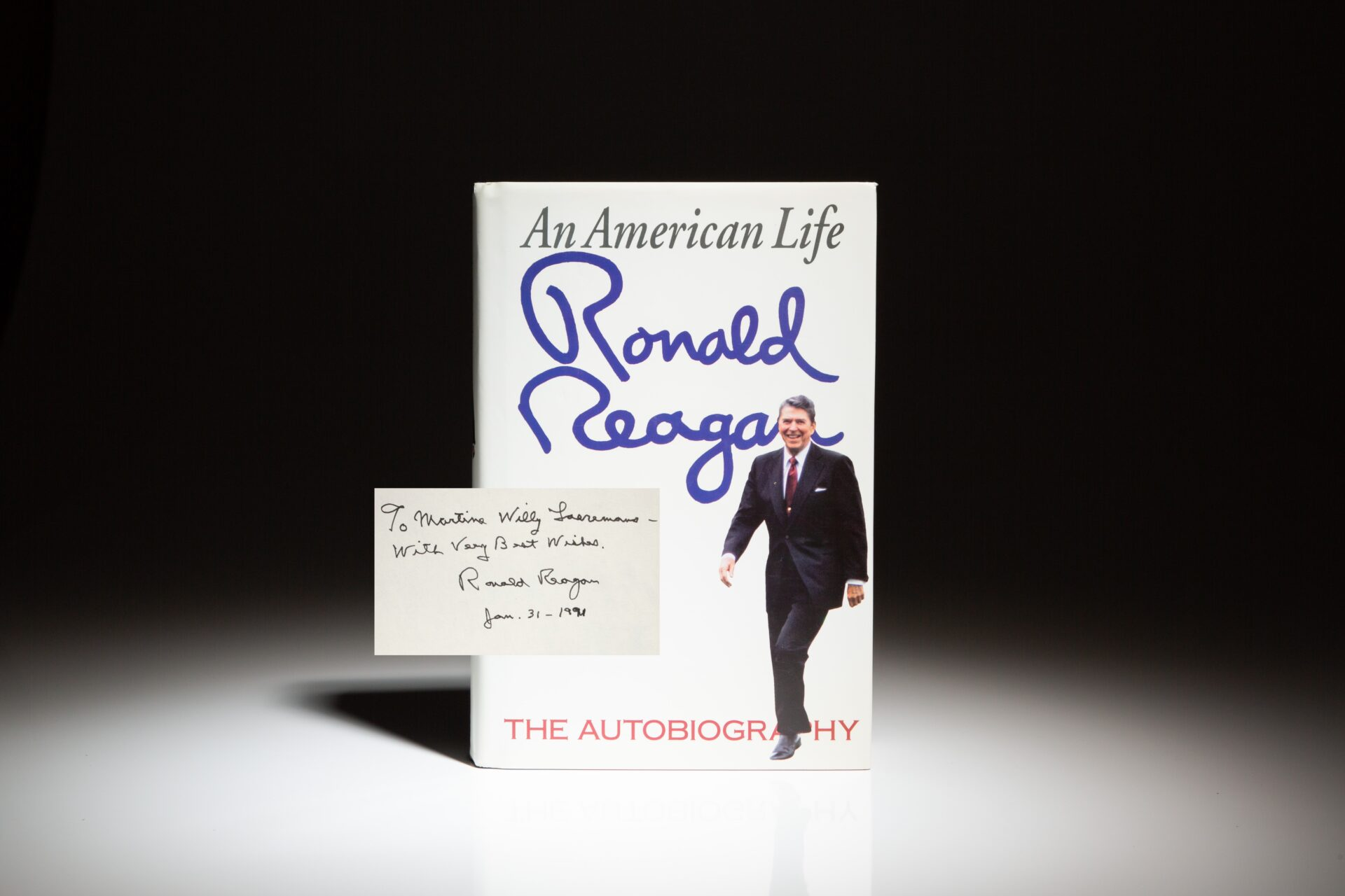 First edition of An American Life, inscribed by President Ronald Reagan to a supporter.