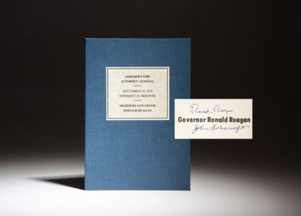 John Ashcroft for Attorney General, signed by the keynote speaker, Governor Ronald Reagan and Attorney General John Ashcroft.