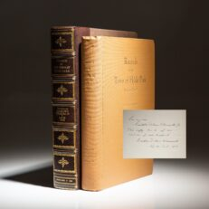 Signed limited edition copy of Franklin D. Roosevelt's Records of the Town of Hyde Park, inscribed to his son, Franklin Delano Roosevelt, Jr.