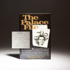 First edition of The Palace File, inscribed to National Security Advisor Brent Scowcroft.