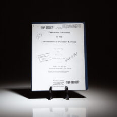 Signed copy of formerly Top Secret documents from the Warren Commission, signed by President Gerald R. Ford.