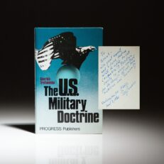 First English edition of The U.S. Military Doctrine by Genrikh Trofimenko, inscribed to National Security Advisor Brent Scowcroft.