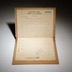 Draft copy of President Harry Truman's statement regarding the first use of atomic weapons, delivered to Maxwell Field, Alabama.