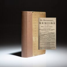 First edition of Dr. Houstoun's Memoirs Of His Own Life-Time, compiled by Jacob Bickerstaff, and published in 1747.