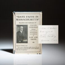 Inscribed first edition of Have Faith In Massachusetts by Calvin Coolidge.