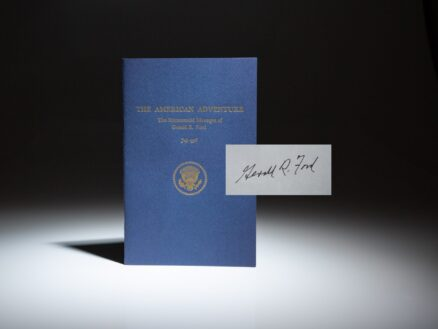 A scarce signed copy of The American Adventure, inscribed by President Gerald R. Ford.