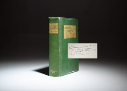 Inscribed first edition of Something Of Men I Have Known by Vice President Adlai Stevenson, presented to American novelist, Thomas Nelson Page.