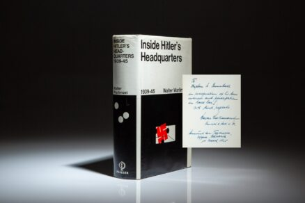 First edition of Inside Hitler's Headquarters 1939-1945, inscribed by German Armed Forces High Command Deputy Chief Of Operations, Walter Warlimont.