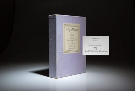 Signed limited edition of My Memoir by Edith Bolling Wilson, in publisher's original clamshell case.