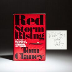Signed copy of Red Storm Rising by Tom Clancy, inscribed to NFL football owner, Robert Irsay.