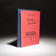 Challenges to American Policy, Gerald Ford's contribution to Thinking About America: The United States in the 1990s, by Annelise Anderson and Dennis Bark, signed by Ford on the cover.