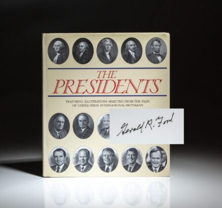 First edition of The Presidents by Bill Harris, signed by former President Gerald R. Ford.