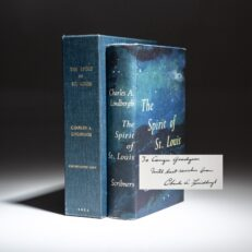 First edition of The Spirit of St. Louis by Charles A. Lindbergh, signed by the author to Conger Goodyear.