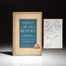 First printing of the Point of No Return by Paul Osborn, inscribed to Broadway company manager, Abe Cohen.