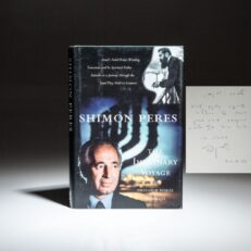 First edition of The Imaginary Voyage, signed by Prime Minister Shimon Peres to journalist and author, Mira Avrech.