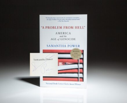 """The first paperback edition of """"A Problem From Hell,"""" signed by Samantha Power on the title page."""