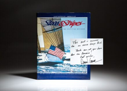 Presentation copy of Stars & Stripes: The Official Record, inscribed by award winning American yachtsman, Dennis Conner to President George H.W. Bush.