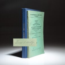 Pamphlet titled The Contribution Of Atomic Energy to Medicine, hearings held before Congress, June 1954. The pamphlet is signed by Gerald R. Ford, Jr, an early signature since he dropped the Junior in later years.