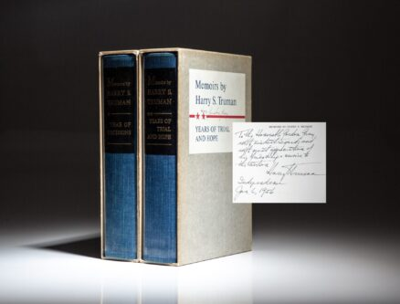 Signed limited edition of the Memoirs of Harry S. Truman, inscribed in both volumes to National Security Advisor Gordon Gray.