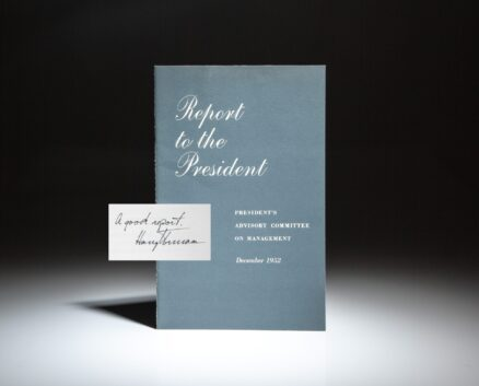 Report of the President's Advisory Committee on Management, from December 1952, inscribed by President Harry S. Truman.