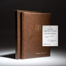 Limited edition of the Universal Postal Union's One Hundredth Anniversary from Postmaster General E.T. Klassen, personally dedicated to President Gerald R. Ford and received while he was in office.