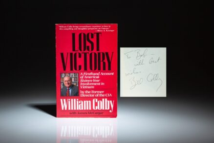 Signed copy of Lost Victory: A Firsthand Account of America's Sixteen-Year Involvment in Vietnam, by former Director of the CIA, William Colby.