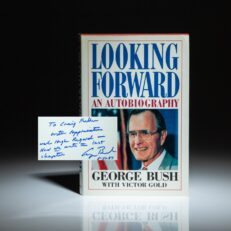 First edition of Looking Forward by Vice President George H.W. Bush, inscribed to his Chief of Staff, Craig L. Fuller.