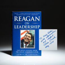 First edition of Reagan On Leadership by James M. Strock, inscribed to George H.W. Bush's Chief of Staff, Craig L. Fuller.