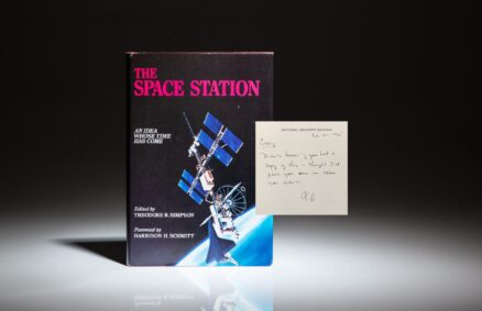 A unique association copy of The Space Station: An Idea Whose Time Has Come, inscribed by Colonel Gil Rye of the NSC to Cabinet Secretary Craig Fuller, who worked together to gain presidential approval for the International Space Station in 1984.