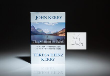 First edition of This Moment on Earth, signed by John Kerry and his wife, Teresa Heinz Kerry.