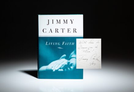 Signed first edition of Living Faith by President Jimmy Carter, inscribed to philanthropist, Dominique de Menil.