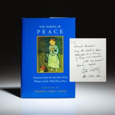 The Words of Peace: Selections from the Speeches of Nobel Peace Prize Winners, inscribed by Coretta Scott King.