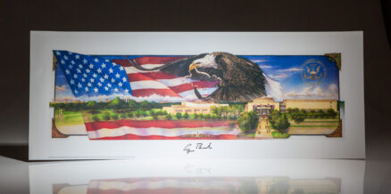 Benjamin Knox Eagle Print of the George Bush Presidential Library, signed by President George H.W. Bush.