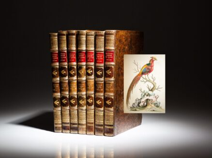 First edition of A Natural History of Uncommon Birds and Gleanings of Natural History, two works in seven volumes, complete with 362 hand colored illustrated plates.
