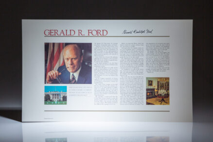 Signed limited edition broadside of the remarks of Gerald R. Ford after taking the oath of office as Vice President Gerald R. Ford, before a joint session of Congress. The speech was delivered on December 6, 1973.