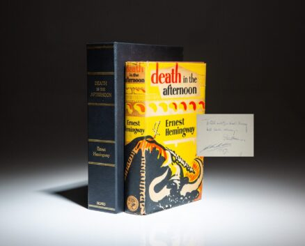 Death in the Afternoon by Ernest Hemingway, inscribed by the author and Spanish bullfighter, Antonio Ordóñez.