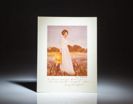 Portrait of Lady Bird Johnson by Aaron Shikler, inscribed by Lady Bird Johnson to John and Bonnie Swearingen.