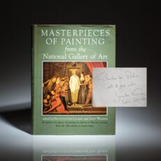 First edition of Masterpieces of Painting from the National Gallery of Art, inscribed by First Lady Jackie Kennedy to the First Lady of Peru, Clorinda Málaga de Prado.
