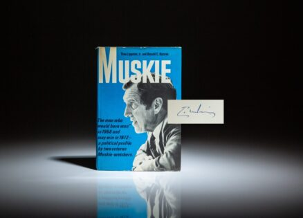 First edition of Muskie by Theo Lippman, Jr. and Donald C. Hansen, signed by Senator Edmund Muskie.
