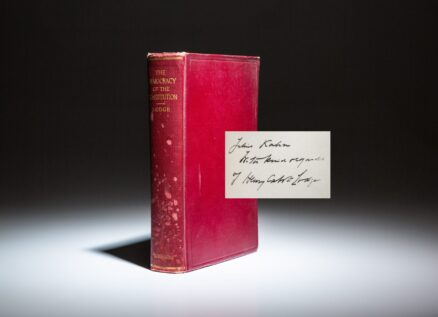 First edition of The Democracy Of The Constitution by Senator Henry Cabot Lodge, inscribed to California Congressman, Julius Kahn.