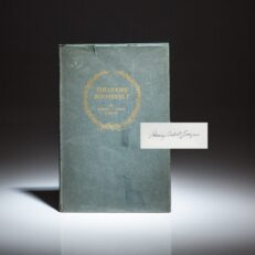 Signed limited edition of Theodore Roosevelt, a memorial publication by Henry Cabot Lodge.