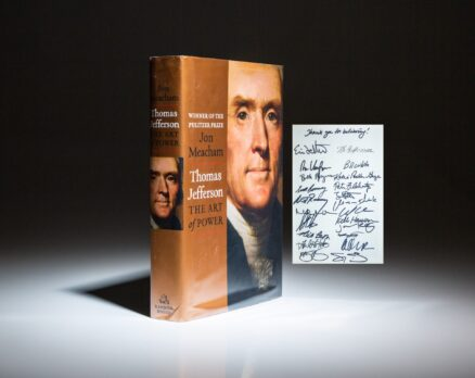 First edition of Thomas Jefferson: The Art of Power by Jon Meacham. Inscribed by 21 members of the Romney Presidential Campaign of 2012.