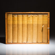 Presidential Edition of The Works of Theodore Roosevelt, eight volumes, in the publisher's original wood crate.