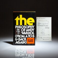The Philosophy of Andy Warhol, signed by the author, with Pea Soup illustration on half title.