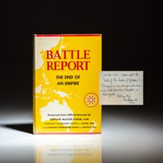 Presentation copy of Battle Report: The End of an Empire, inscribed by Fleet Admiral Chester Nimitz.