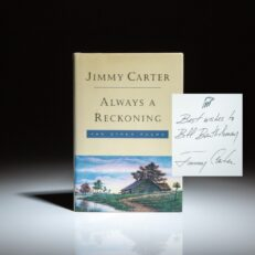 Always a Reckoning by Jimmy Carter, inscribed to the former owner of the Atlanta Braves, Bill Bartholomay.