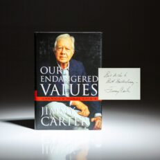 Our Endangered Values by President Jimmy Carter, inscribed to the former owner of the Atlanta Braves, William Bartholomay.