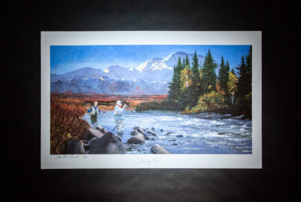Limited edition print of President Jimmy Carter and Rosalynn Carter fly fishing in Alaska.