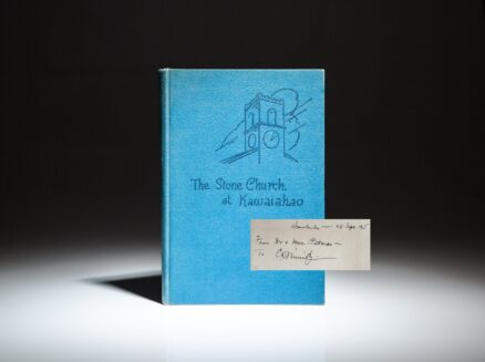 Presentation copy of The Stone Church at Kawaiahao to Fleet Admiral Chester Nimitz, with his notes and signature.